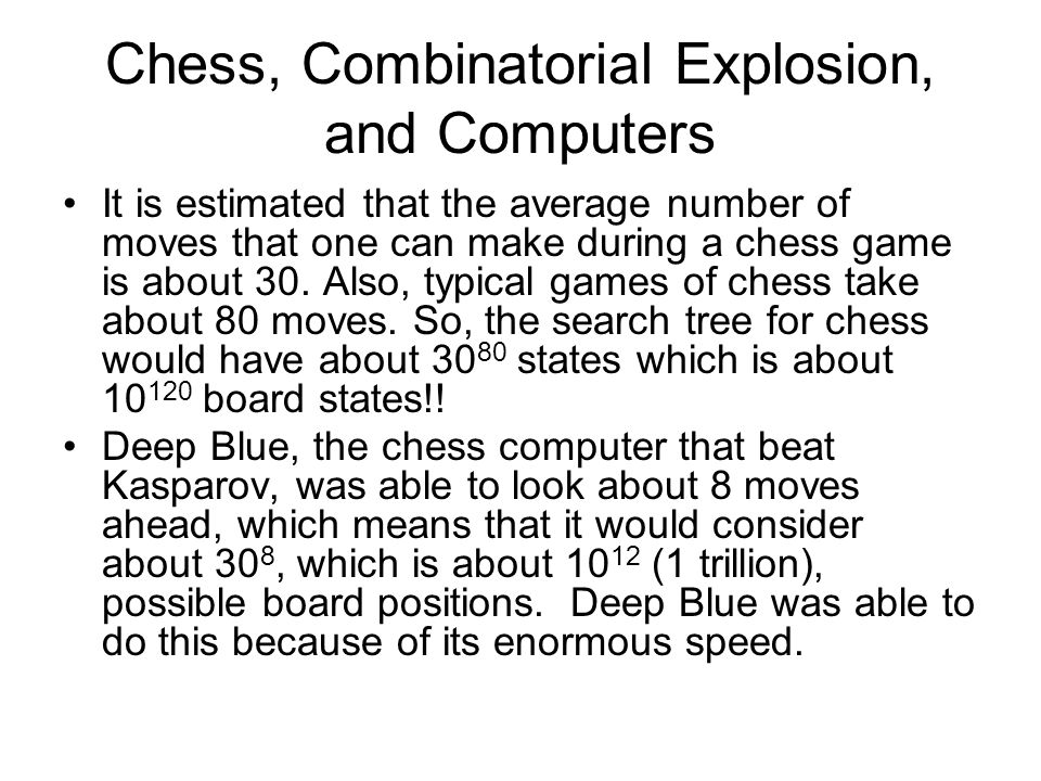 Chess, Combinatorial Explosion, and Computers