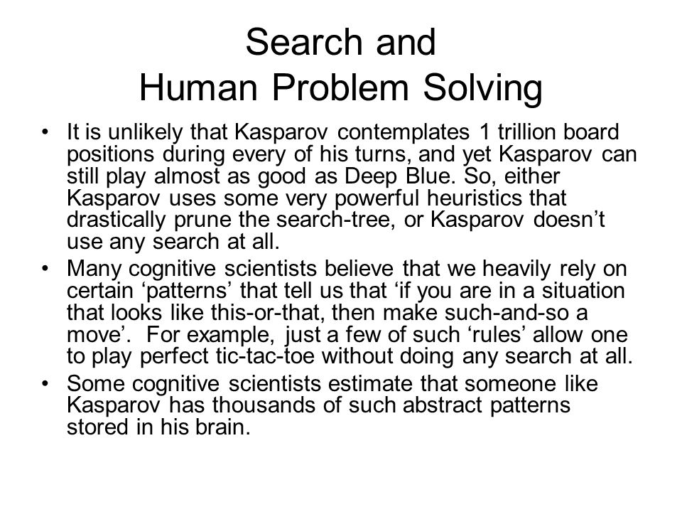 Search and Human Problem Solving