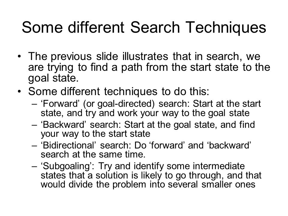 Some different Search Techniques