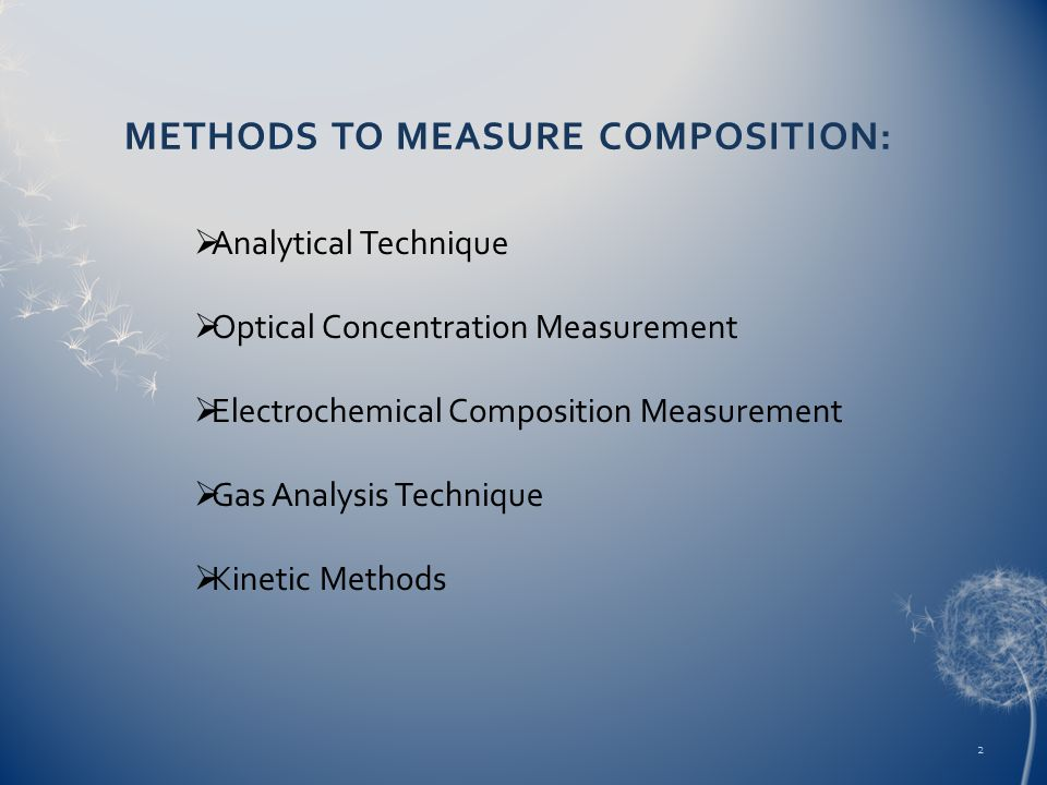 METHODS TO MEASURE COMPOSITION: