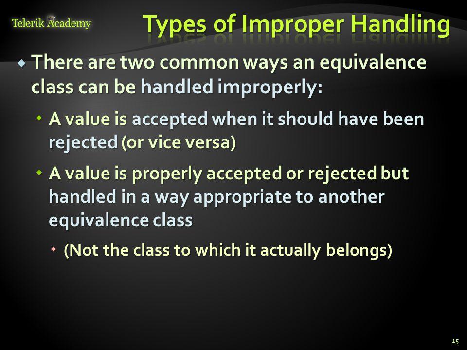 Types of Improper Handling