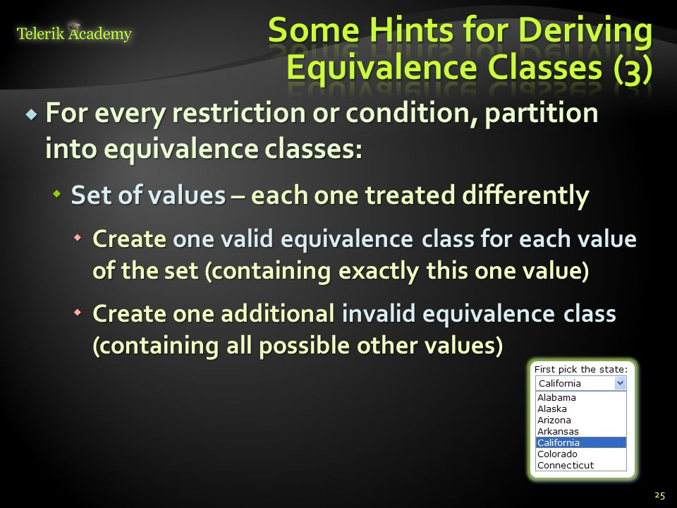 Some Hints for Deriving Equivalence Classes (3)