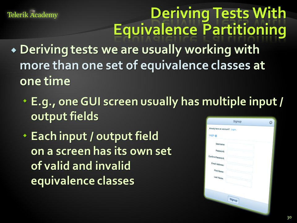Deriving Tests With Equivalence Partitioning