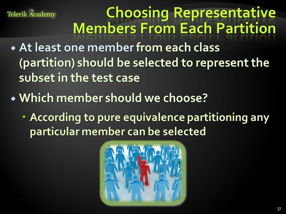 Choosing Representative Members From Each Partition