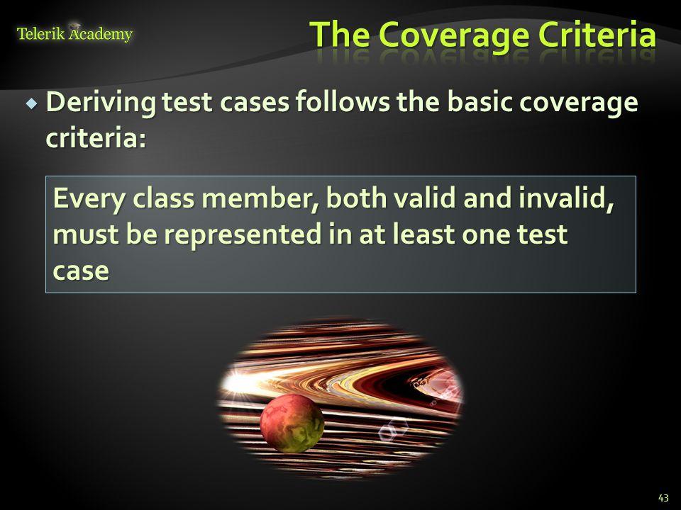 The Coverage Criteria Deriving test cases follows the basic coverage criteria: