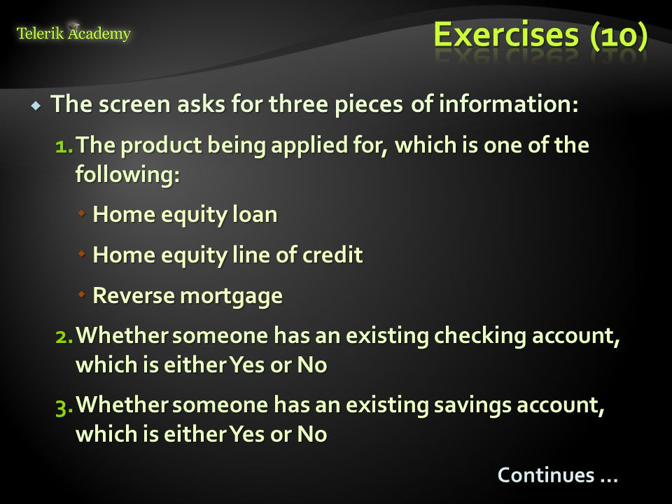 Exercises (10) The screen asks for three pieces of information: