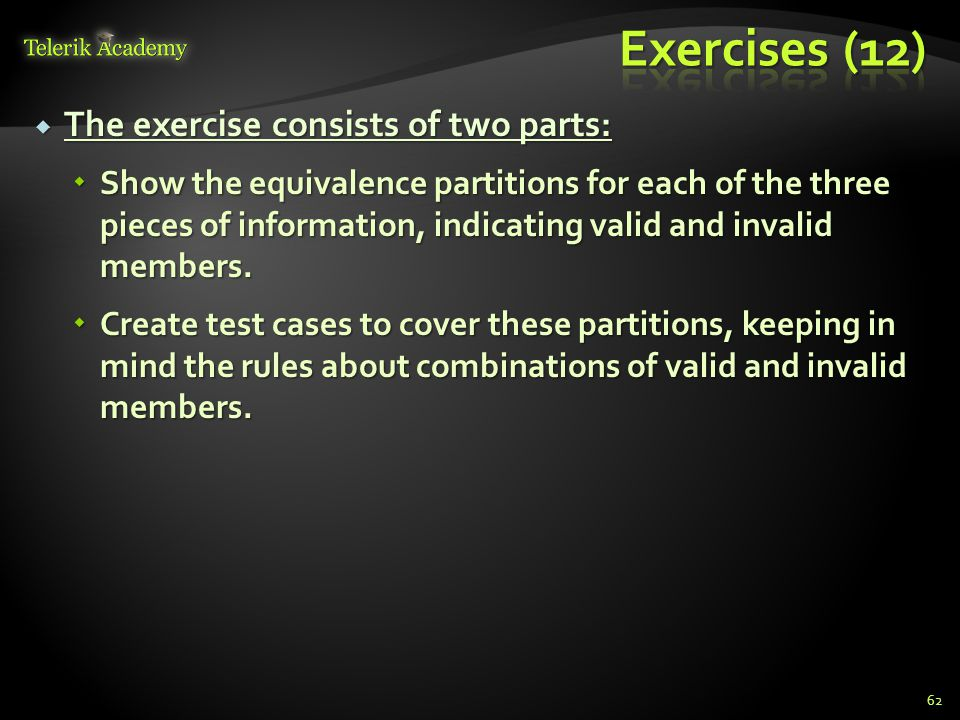 Exercises (12) The exercise consists of two parts:
