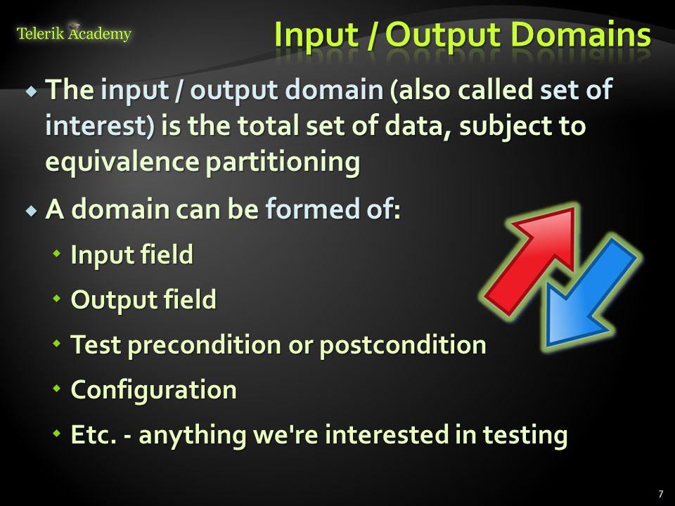 Input / Output Domains The input / output domain (also called set of interest) is the total set of data, subject to equivalence partitioning.