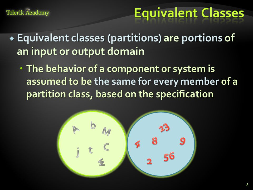 Equivalent Classes Equivalent classes (partitions) are portions of an input or output domain.