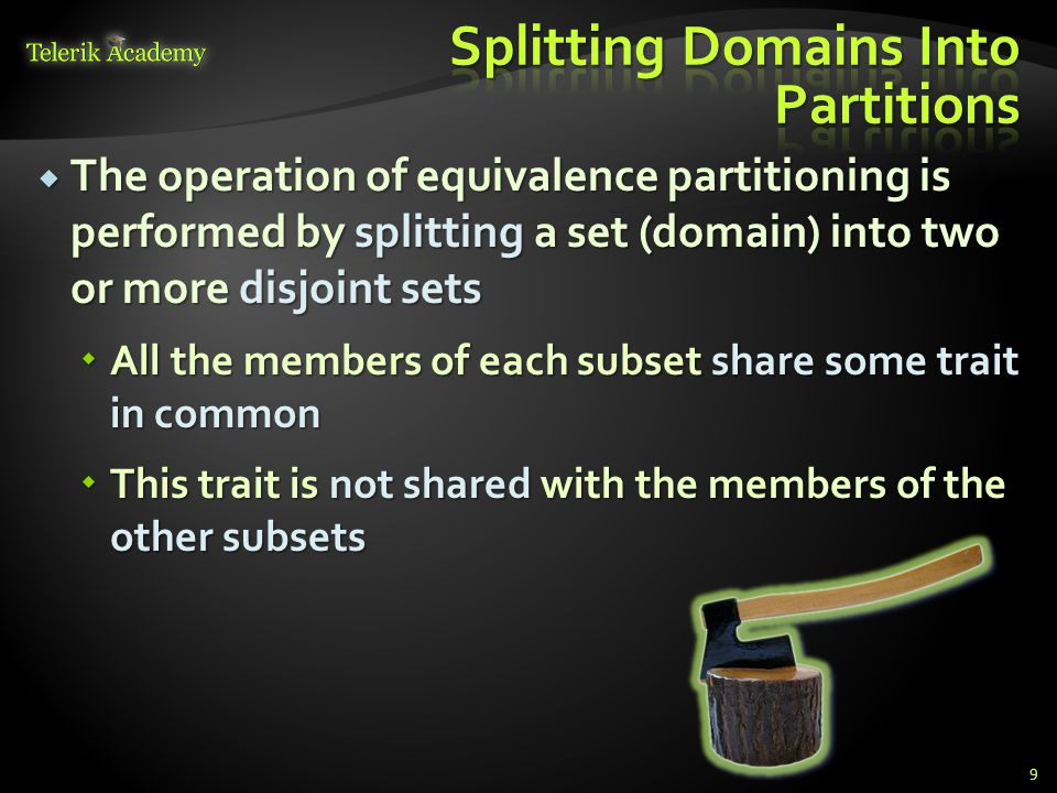 Splitting Domains Into Partitions