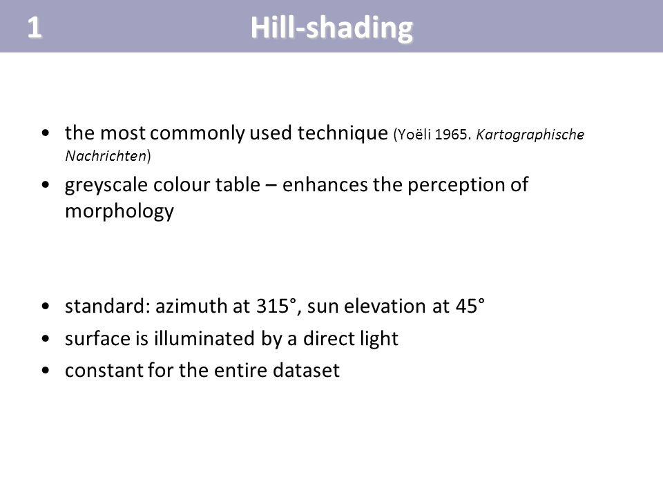 1 Hill-shading. the most commonly used technique (Yoëli 1965. Kartographische Nachrichten)