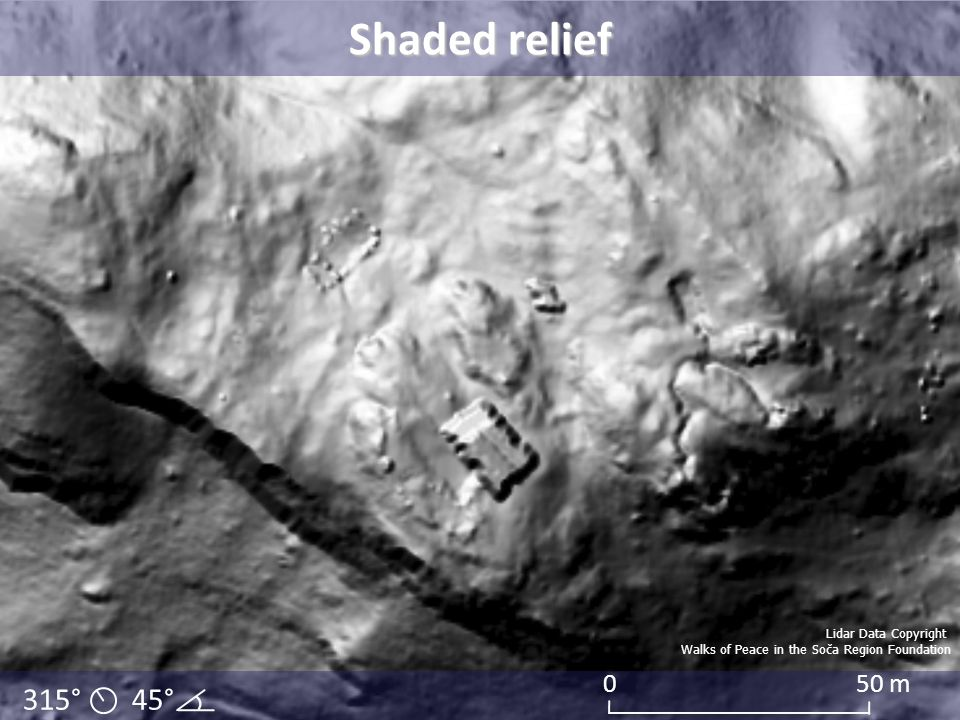 Shaded relief 315° 45° 50 m Lidar Data Copyright