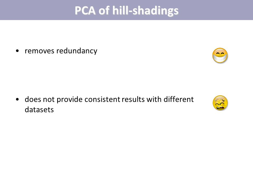 PCA of hill-shadings removes redundancy