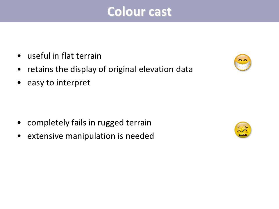 Colour cast useful in flat terrain