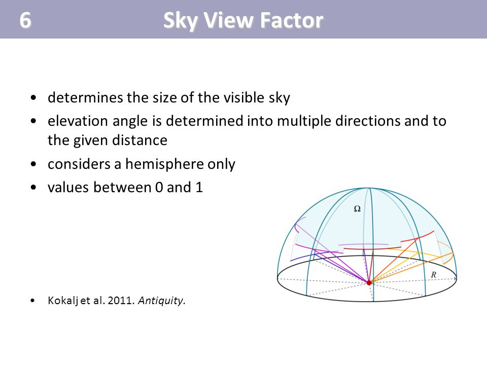 6 Sky View Factor determines the size of the visible sky