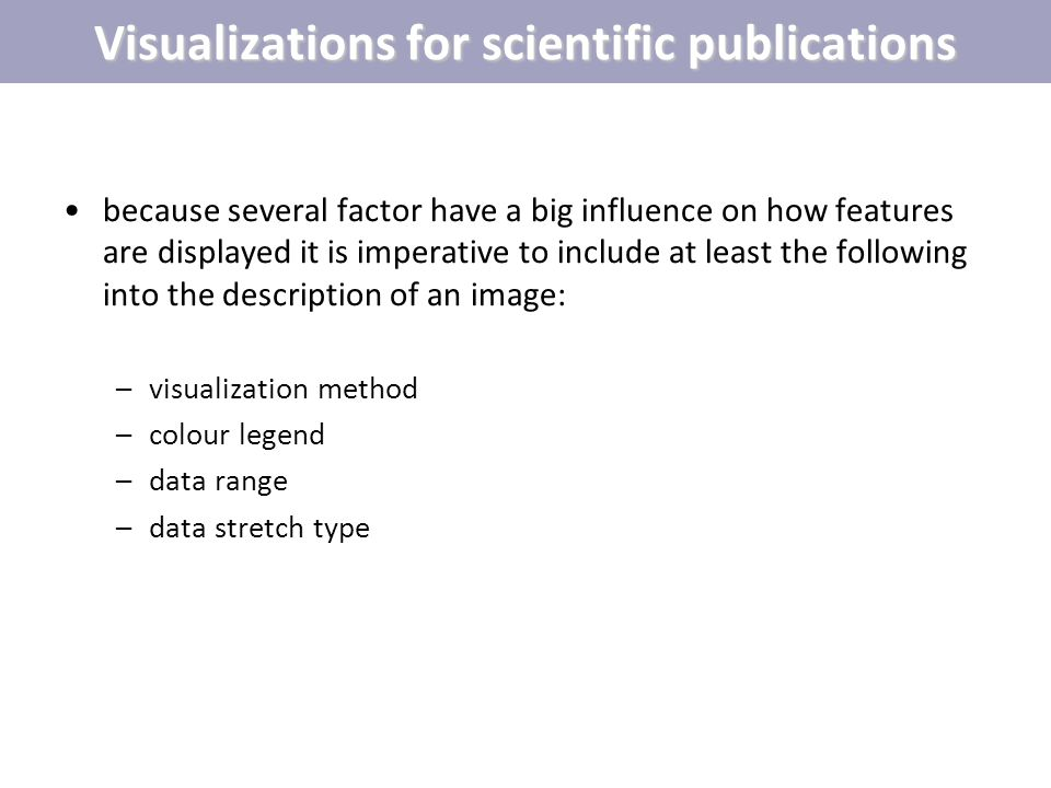 Visualizations for scientific publications