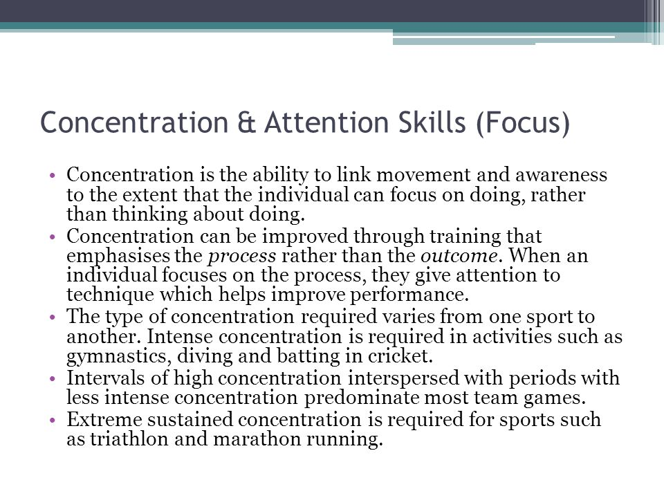 Concentration & Attention Skills (Focus)