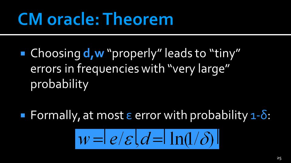 CM oracle: Example With w=270,000 and d=14, error in frequencies less than 10-5 = 0.00001 with probability 1-10-6 = 0.999999!