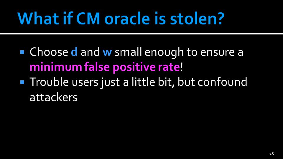 CM oracle sketch Small memory Quick updates Quick queries