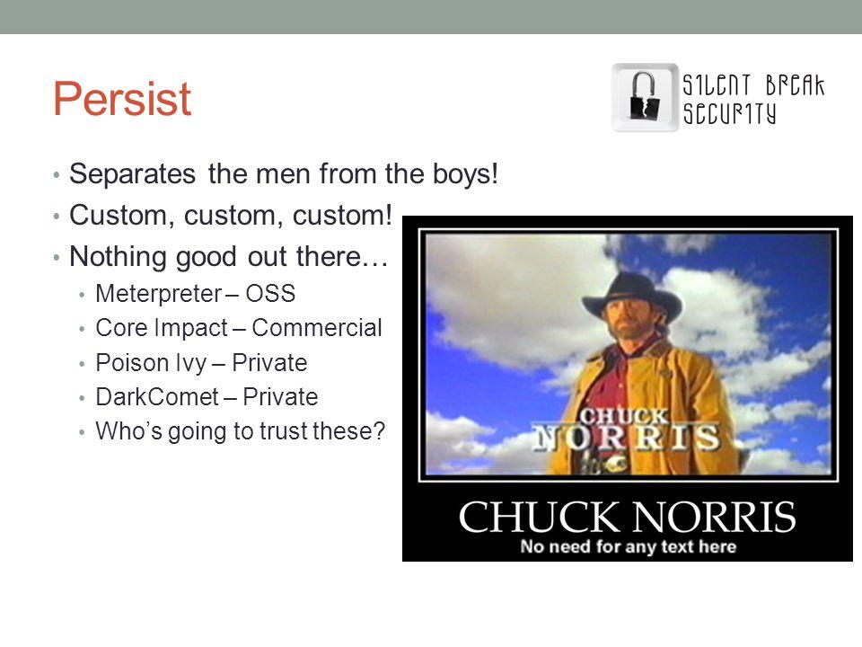 Persist Separates the men from the boys! Custom, custom, custom!