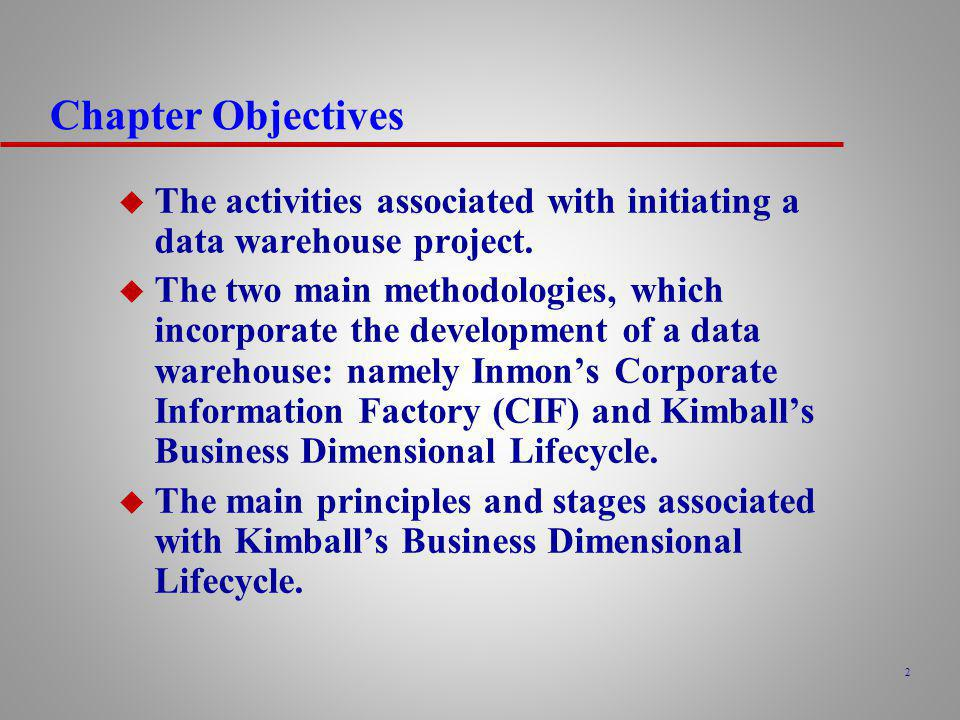 Chapter Objectives The activities associated with initiating a data warehouse project.