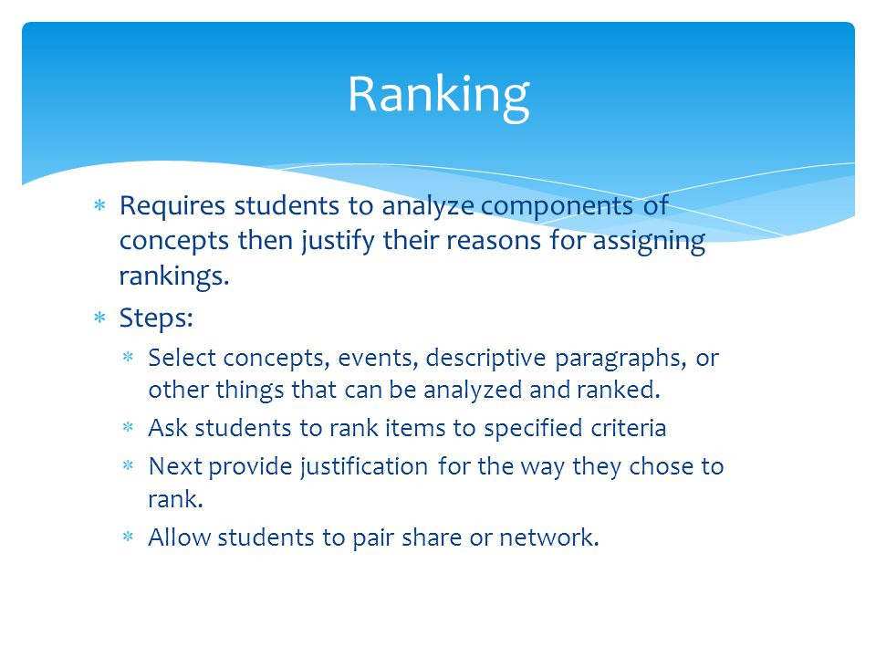 Ranking Requires students to analyze components of concepts then justify their reasons for assigning rankings.