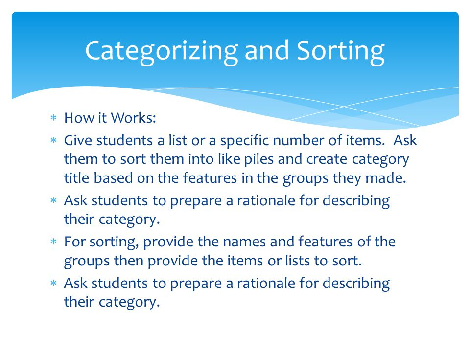 Categorizing and Sorting