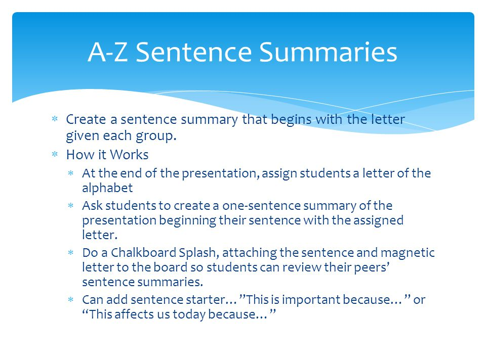 A-Z Sentence Summaries