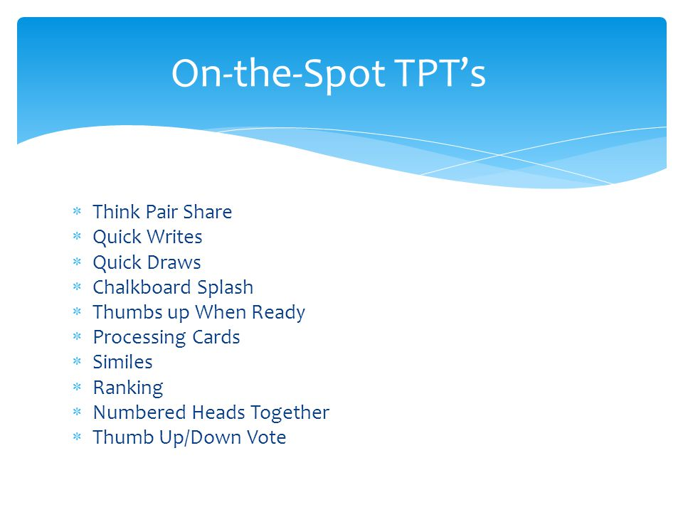 On-the-Spot TPT's Think Pair Share Quick Writes Quick Draws