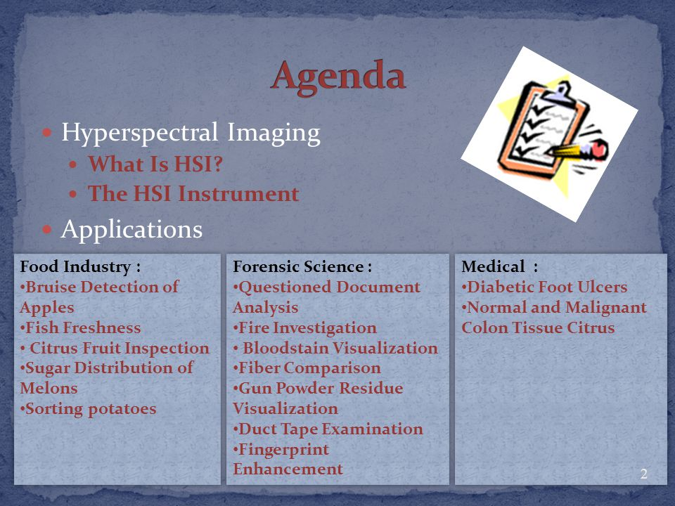 Agenda Hyperspectral Imaging Applications What Is HSI