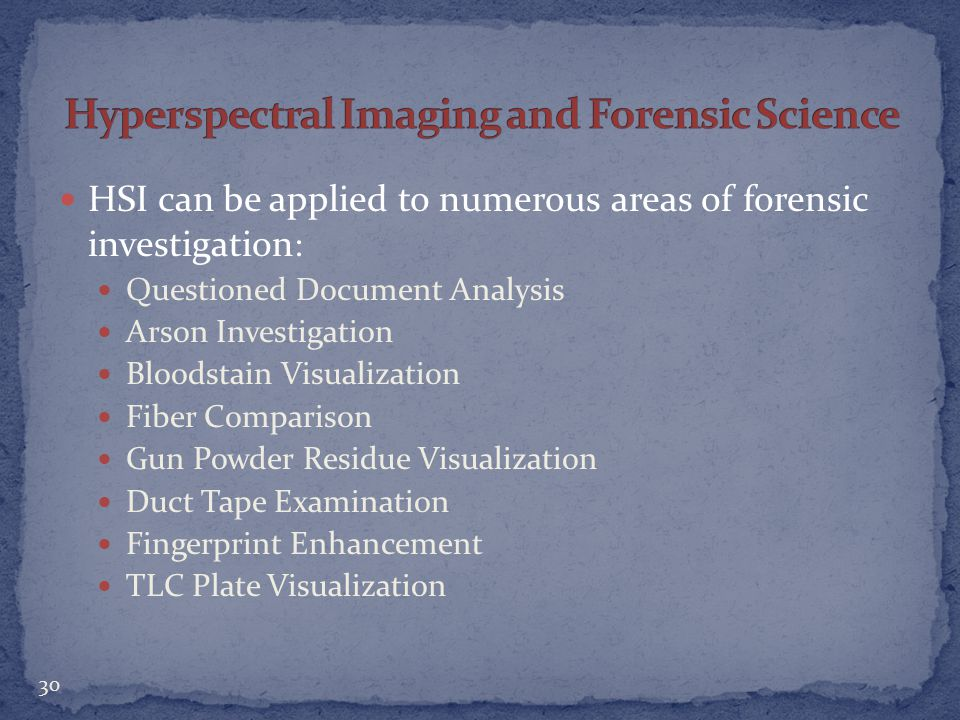 Hyperspectral Imaging and Forensic Science