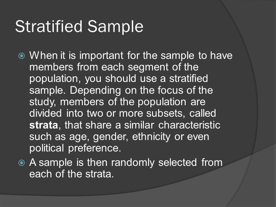 Stratified Sample