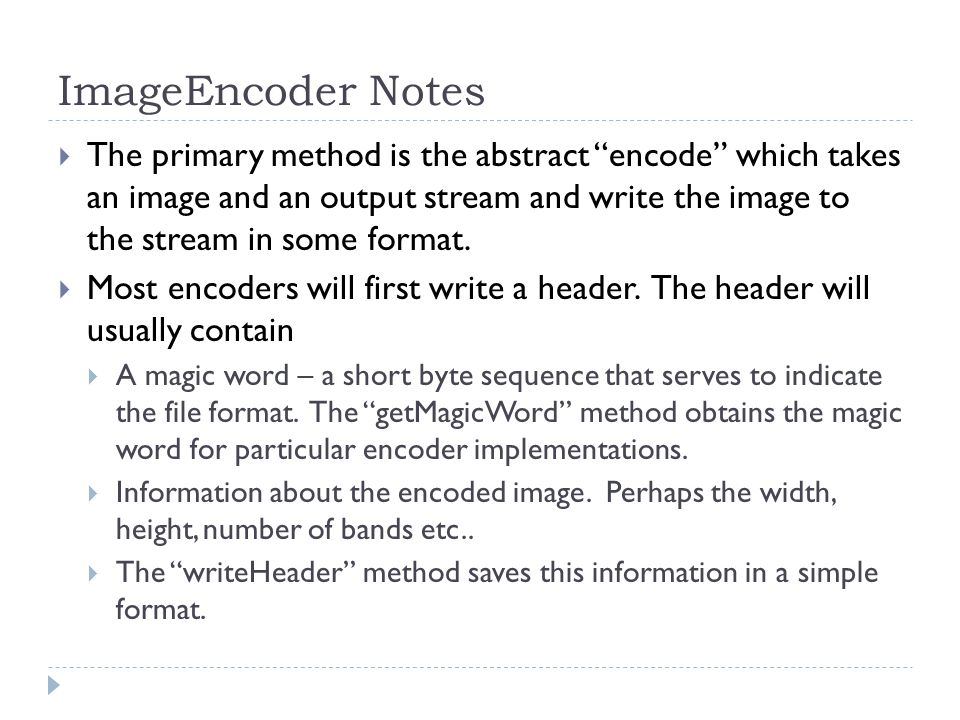 ImageEncoder Notes