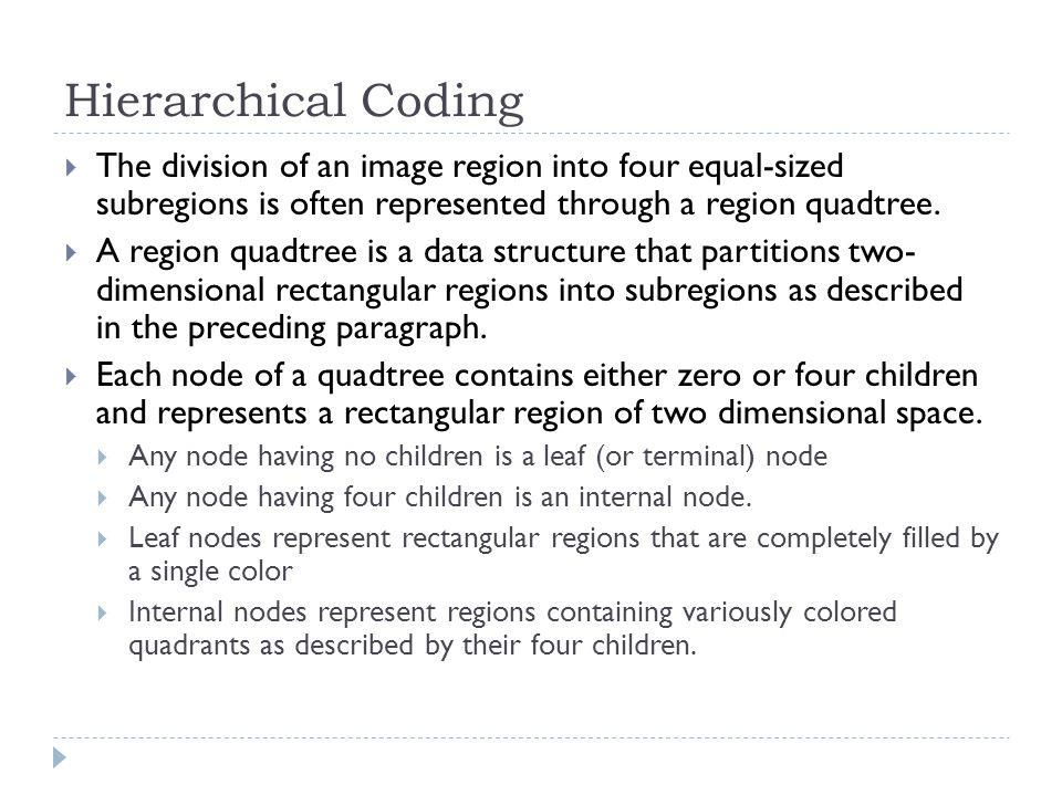 Hierarchical Coding The division of an image region into four equal-sized subregions is often represented through a region quadtree.