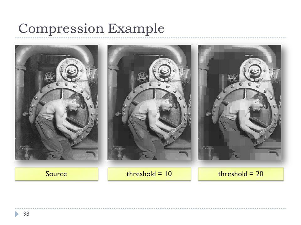 Compression Example Source threshold = 10 threshold = 20