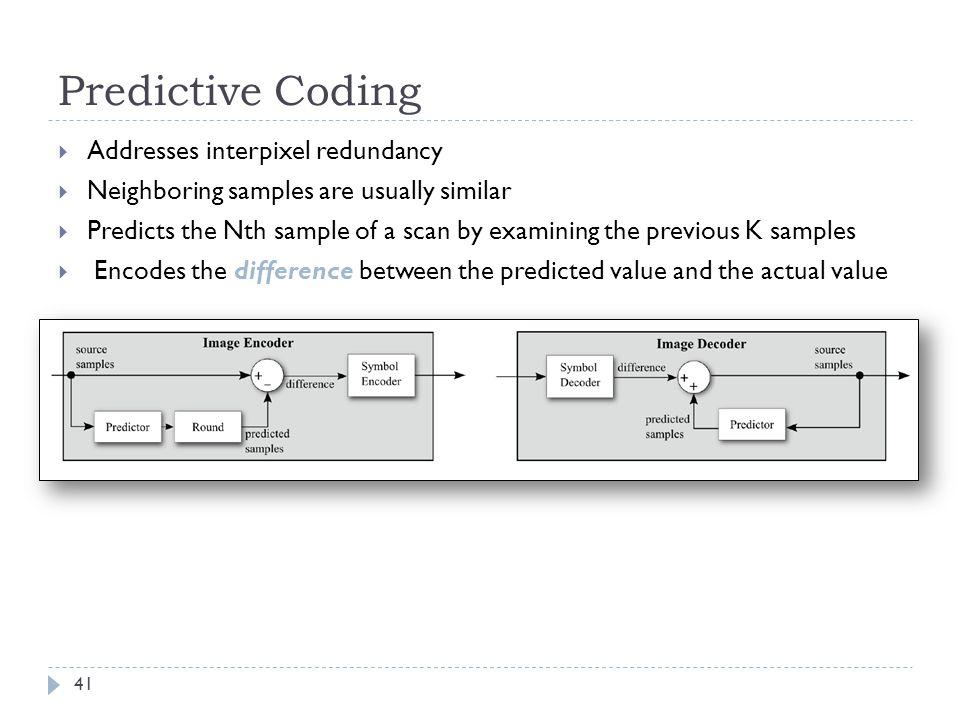 Predictive Coding Addresses interpixel redundancy