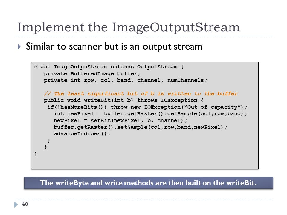 Implement the ImageOutputStream