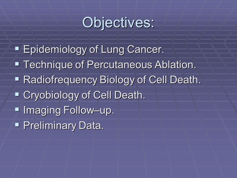 Objectives: Epidemiology of Lung Cancer.