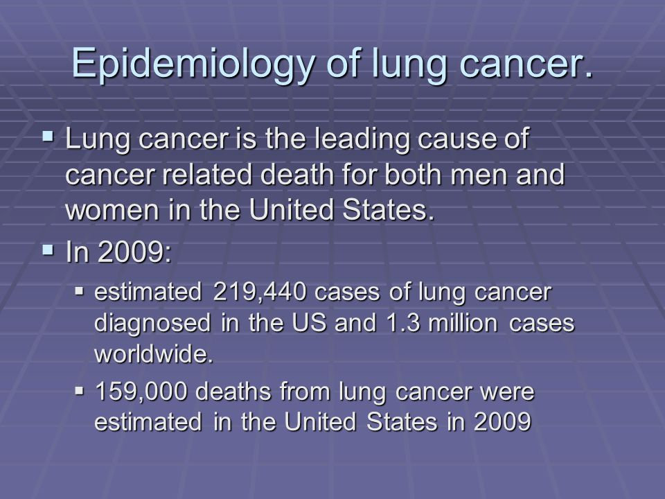 Epidemiology of lung cancer.