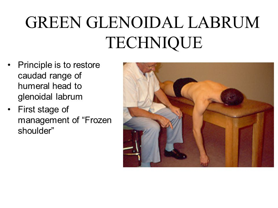 GREEN GLENOIDAL LABRUM TECHNIQUE