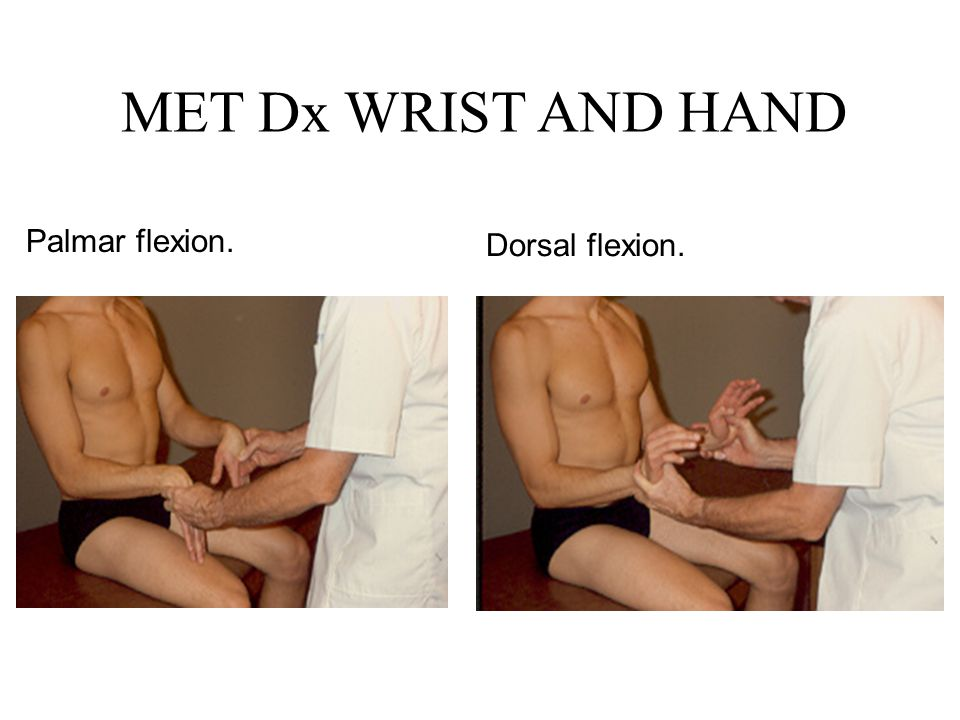 MET Dx WRIST AND HAND Palmar flexion. Dorsal flexion.