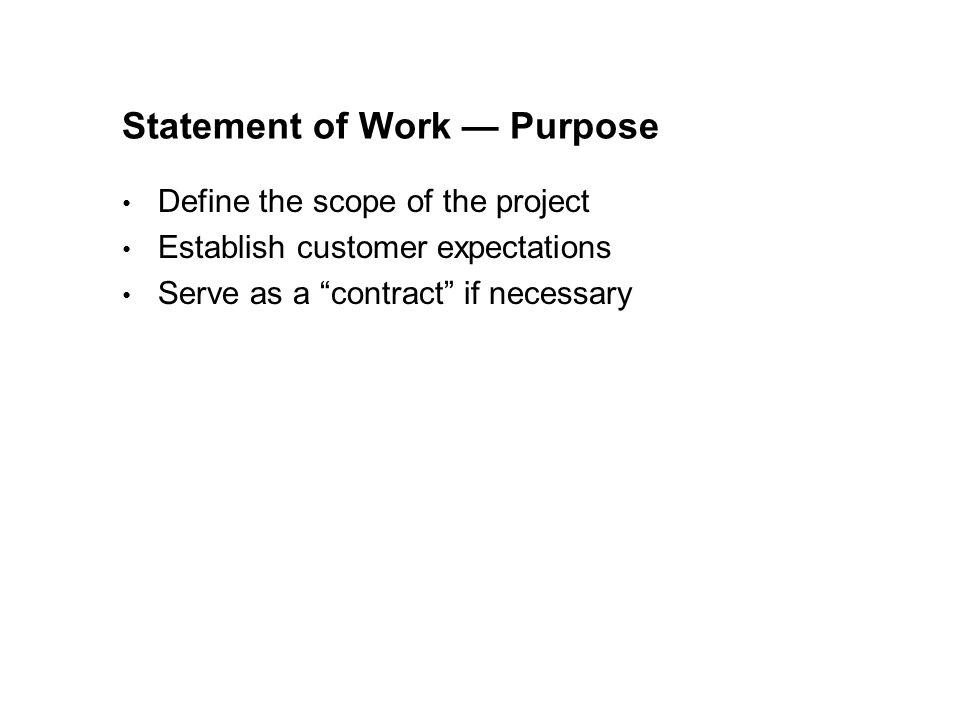 Statement of Work — Purpose