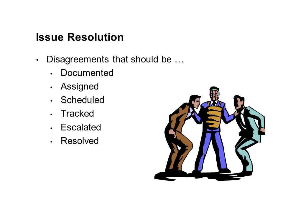 Issue Resolution Disagreements that should be … Documented Assigned