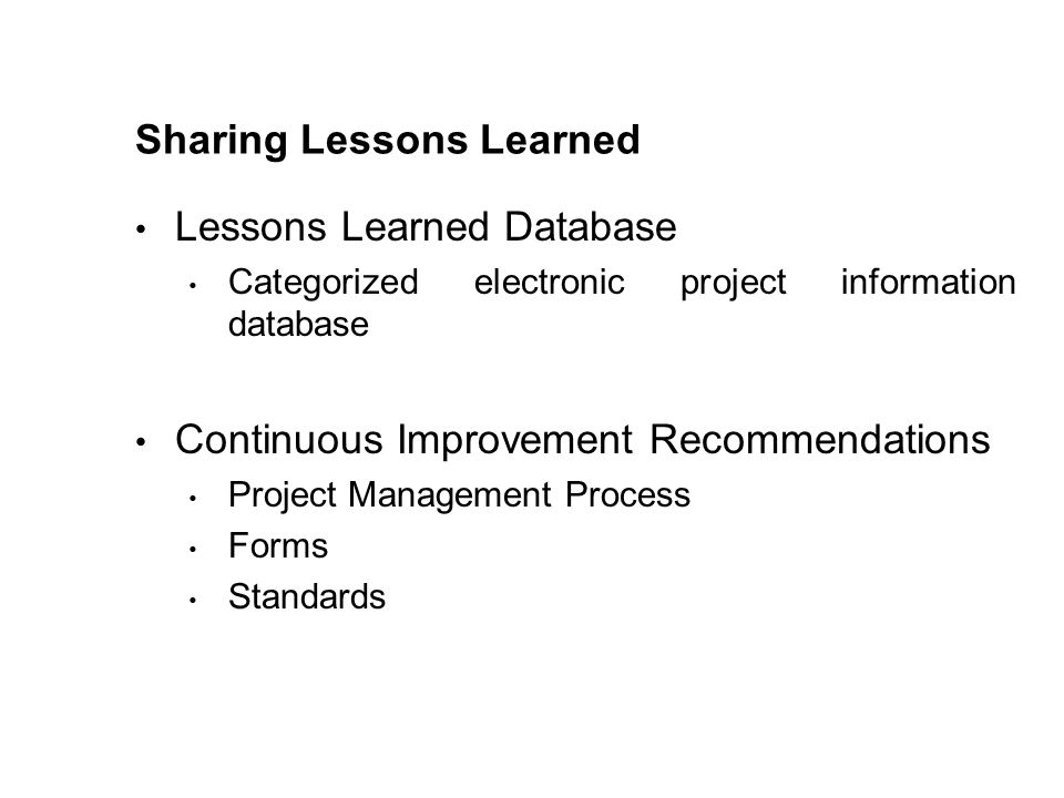 Sharing Lessons Learned