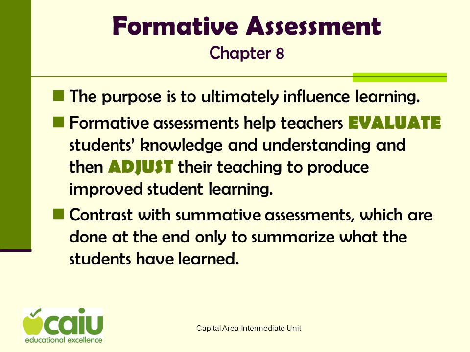 Formative Assessment Chapter 8