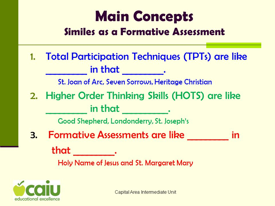 Main Concepts Similes as a Formative Assessment