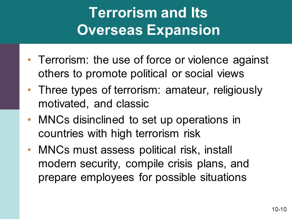 Terrorism and Its Overseas Expansion