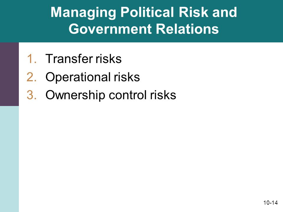 Managing Political Risk and Government Relations