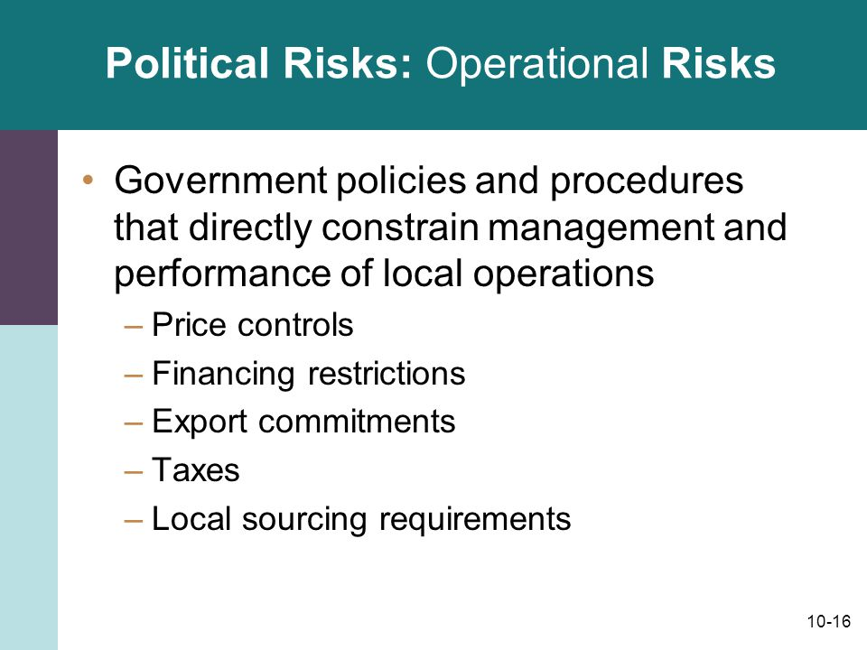 Political Risks: Operational Risks