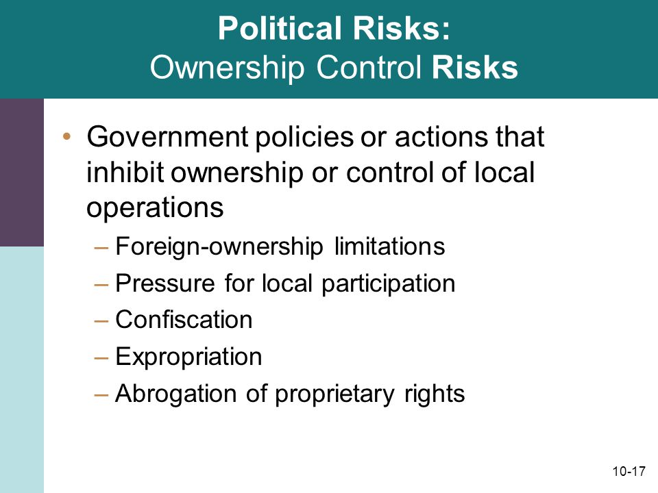 Political Risks: Ownership Control Risks